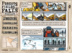 Screenshot of lumbering graphic novel